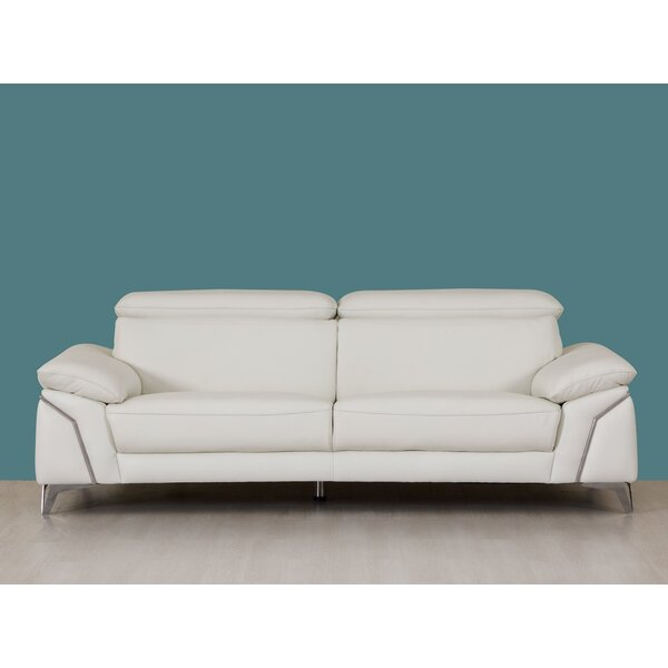 Amher Leather Sofa by Orren Ellis