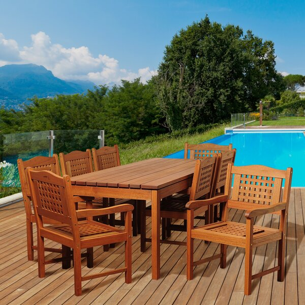 Fanning International Home Outdoor 9 Piece Dining Set by Bayou Breeze