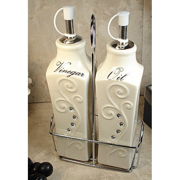 Deco 3 Piece Oil and Vinegar Cruet Set by D'Lusso Designs