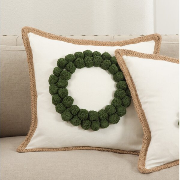 Ricamato Wreath Cotton Throw Pillow by Saro