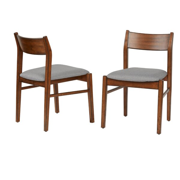 Domina Upholstered Solid Wood Ladder Back Dining Chair In Walnut (Set Of 2) By Latitude Run