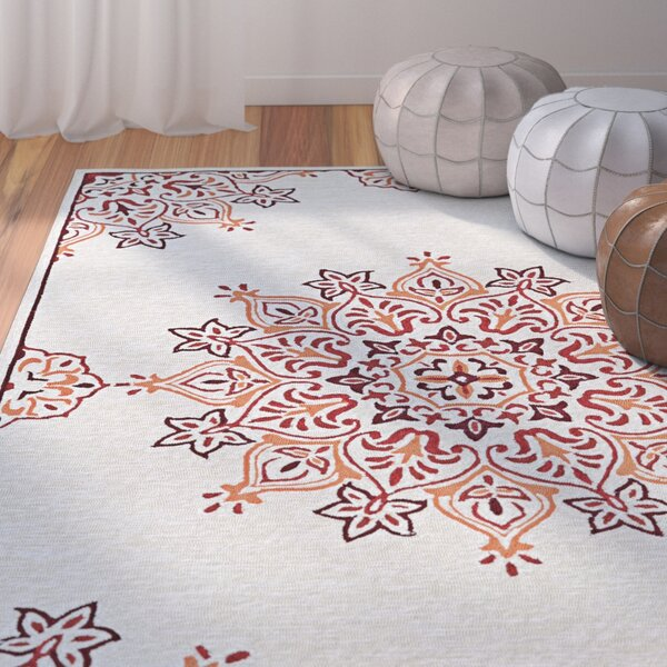 Delmon Hand Hooked Sand/Red Indoor/Outdoor Area Rug by Bungalow Rose