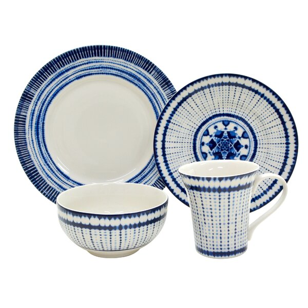 Shibori 16 Piece Dinnerware Set, Service for 4 by 222 Fifth