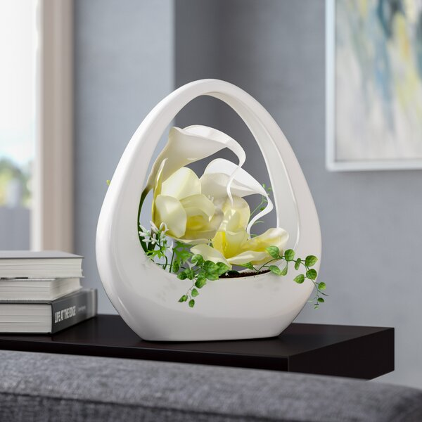 Orchid and Calla Lily Floral Arrangement in Decorative Vase by Orren Ellis