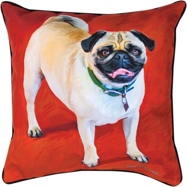 Doug the Pug Throw Pillow by Manual Woodworkers & Weavers
