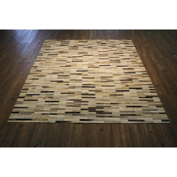 Beldon Hand-Woven Cowhide Brown/Beige Area Rug by Orren Ellis