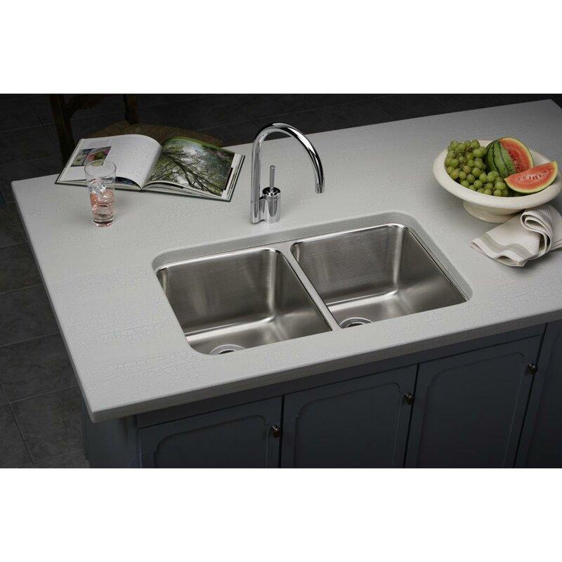 lustertone 31   x 19   double basin undermount kitchen sink with     elkay lustertone 31   x 19   double basin undermount kitchen sink      rh   wayfair com
