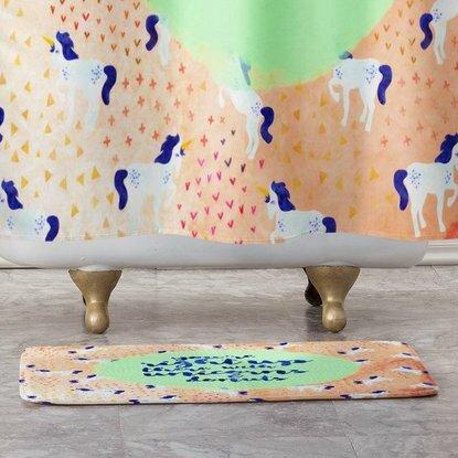 Hello Sayang Unicorns and Donuts Non-Slip Animal Print Bath Rug