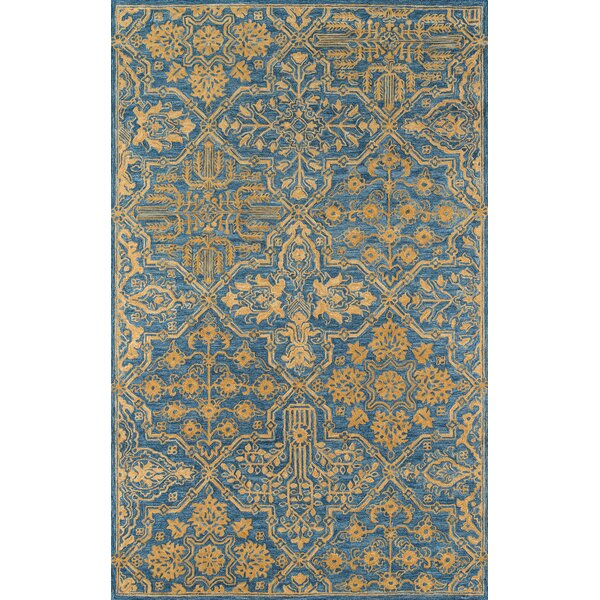 Worreno Hand-Tufted Wool Indoor Blue Oriental Area Rug by Bungalow Rose