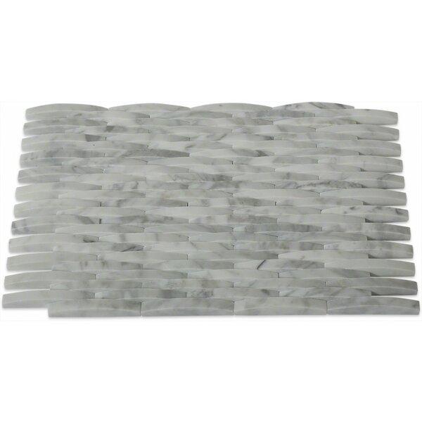 0.38 x 3 Marble Mosaic Tile in White Carrera by Splashback Tile