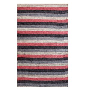 Hand-Woven Black/Red Area Rug