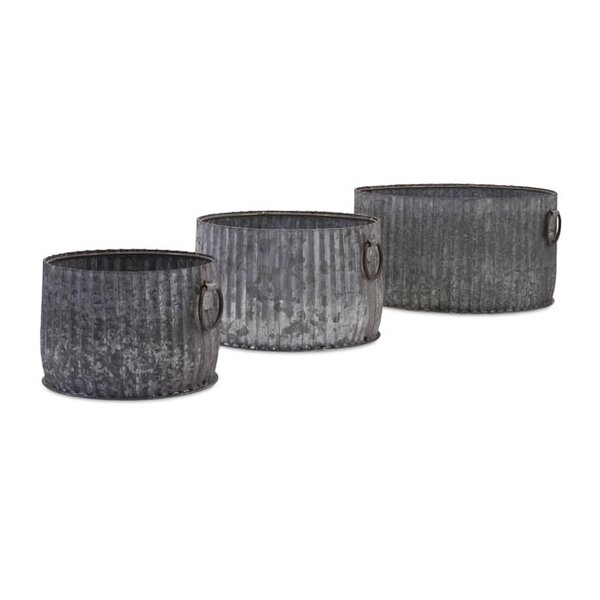 Maurer 3-Piece Iron Galvanized Pot Planter Set by Woodland Imports