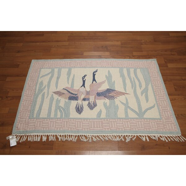 One-of-a-Kind Ireland Chainstitch Hand-Knotted Wool Beige/Blue/Pink Area Rug by August Grove