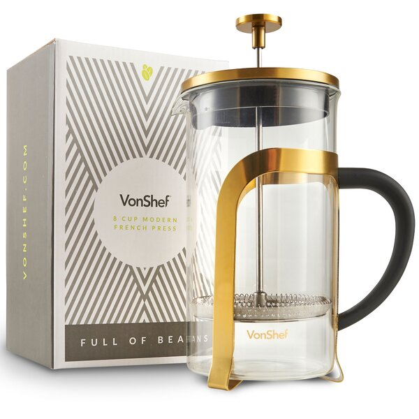 8-Cup Stainless Steel Heat Resistant French Press Coffee Maker by VonShef
