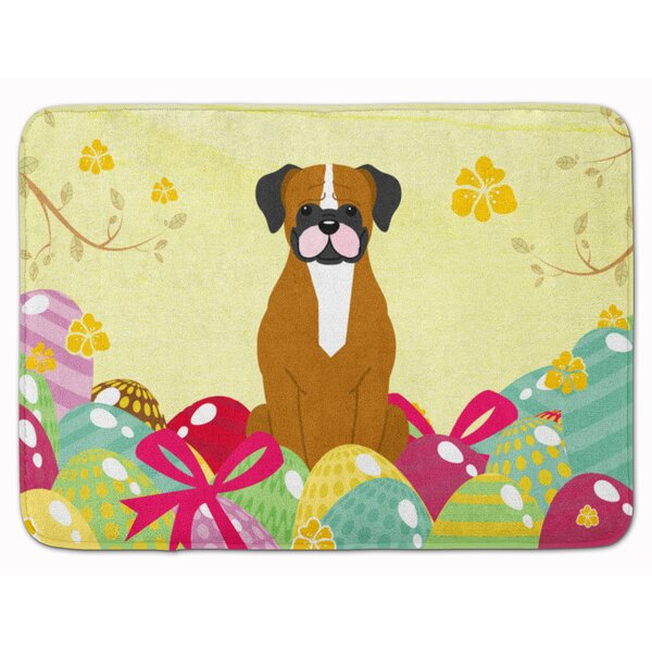 Easter Eggs Boxer Cooper Memory Foam Bath Rug by The Holiday Aisle
