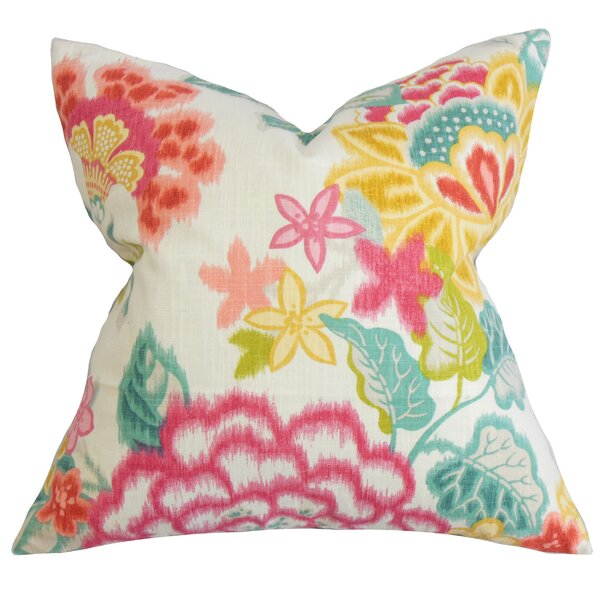 Lindsay Floral Cotton Throw Pillow by The Pillow Collection