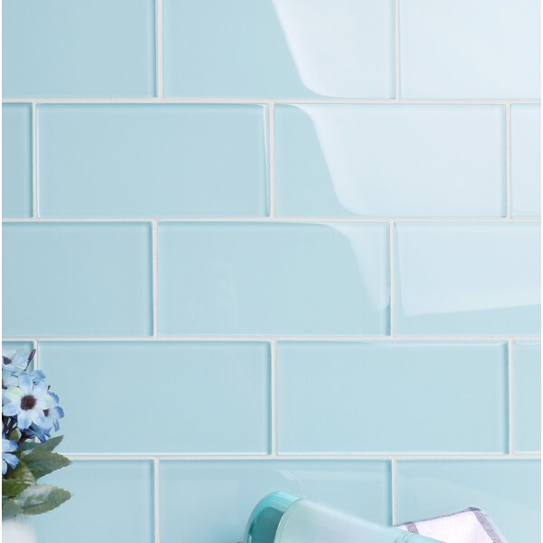 Premium Series 3 x 6 Glass Subway Tile in Glossy Baby Blue by WS Tiles