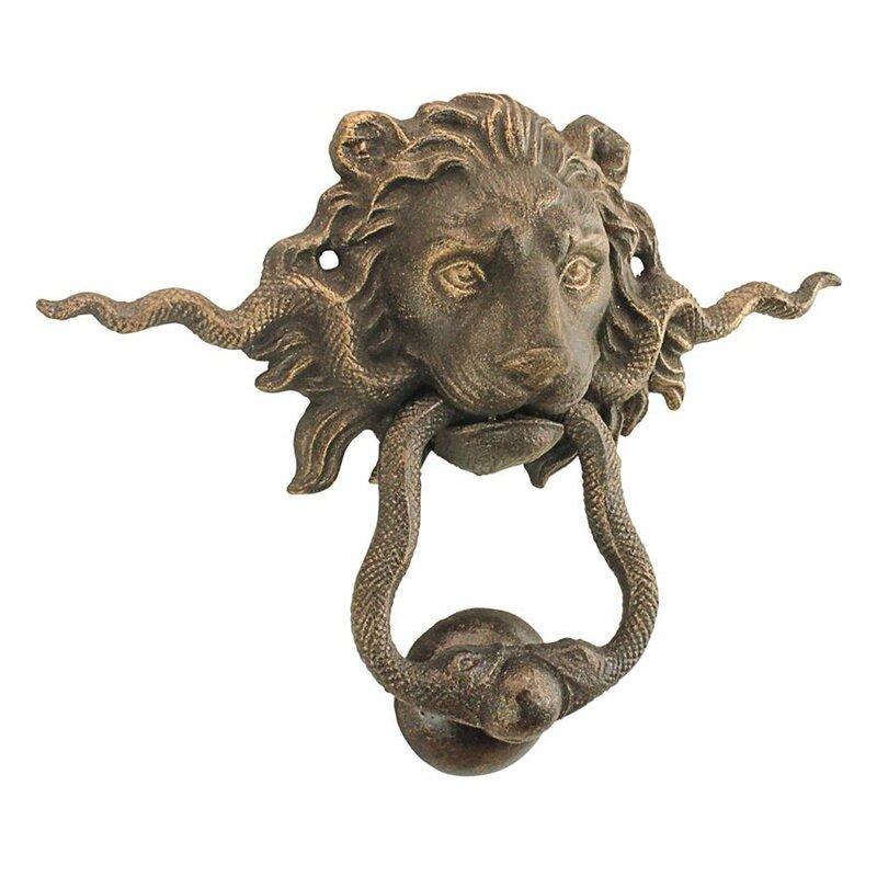 Cast Iron Rustic Lion Door Knocker Vintage Antique Style lions head front