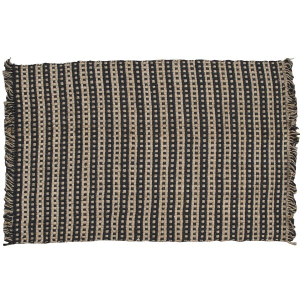 Basketweave Hand-Woven Tan/Black Area Rug by Park Designs