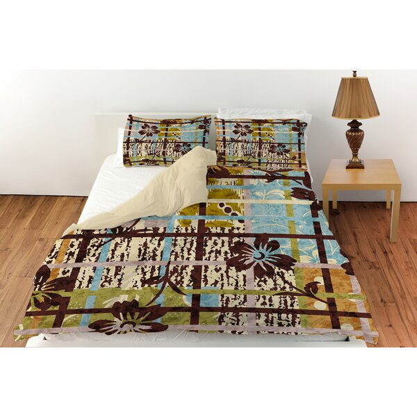 Floral Study in Plaid Duvet Cover Collection