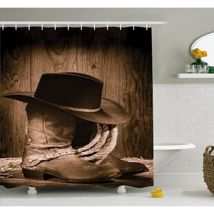 Western Wild West Themed Cowboy Hat And Old Ranching Rope On Wooden Display  Rodeo Style Shower Curtain Set