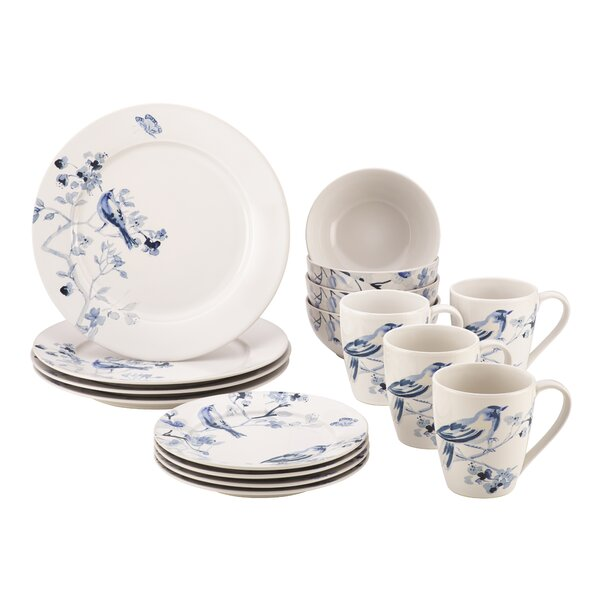 Indigo Blossom Stoneware 16 Piece Dinnerware Set, Service for 4 by Paula Deen