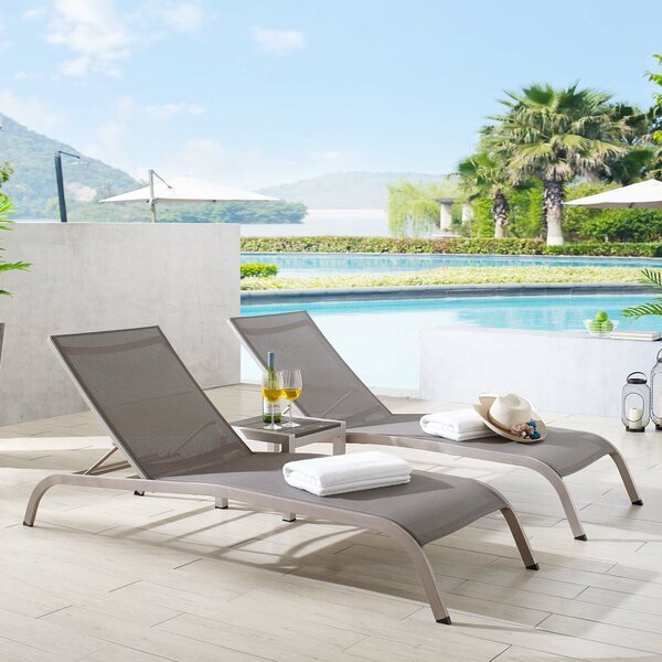 Platon Reclining Chaise Lounge with Table by Latitude Run Latitude Run