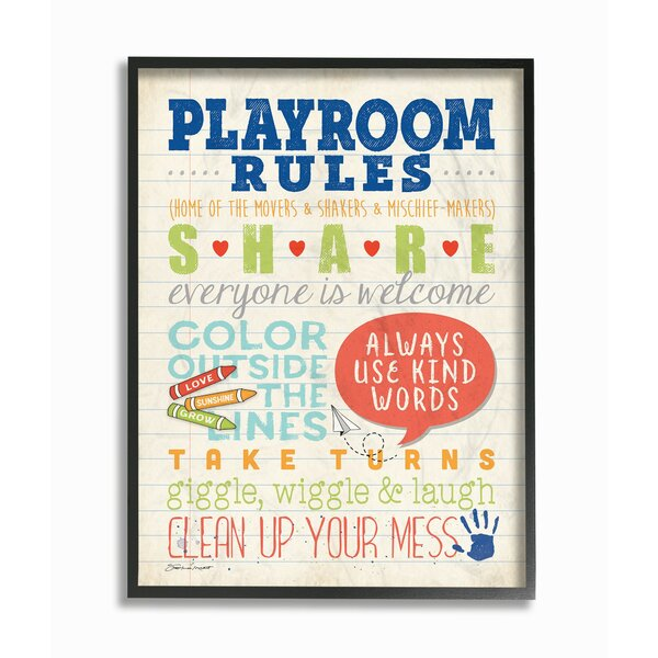 Farlow Playroom Rules Notebook Paper Framed Art by Harriet Bee