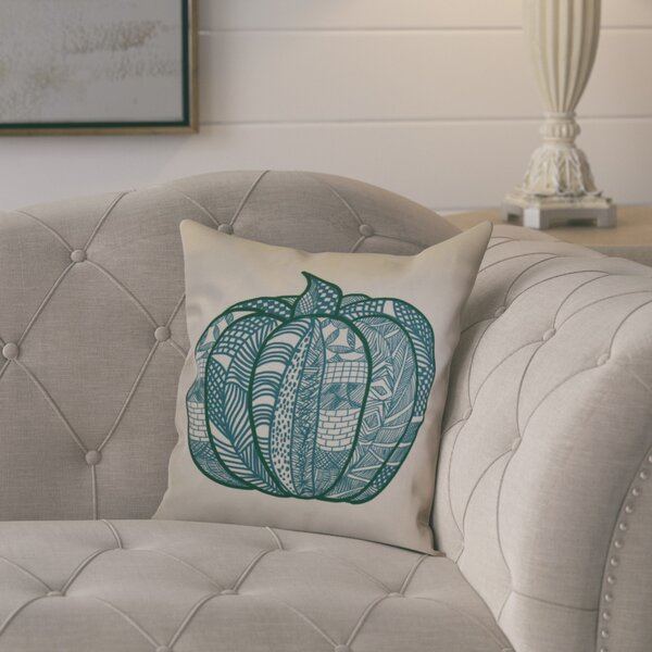 Macedonia Pumpkin Patch Geometric Outdoor Throw Pillow by August Grove