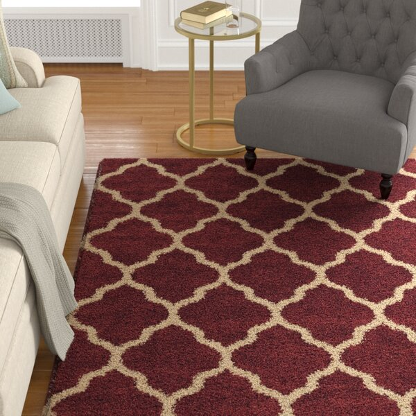 Creal Shag Red/Ivory Area Rug by Darby Home Co
