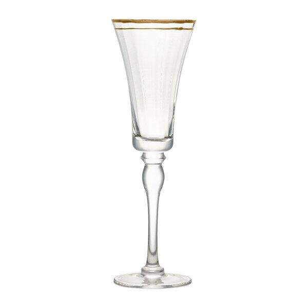 Tayler Rim Glass 12 oz. Champagne Flute (Set of 4) by Charlton Home