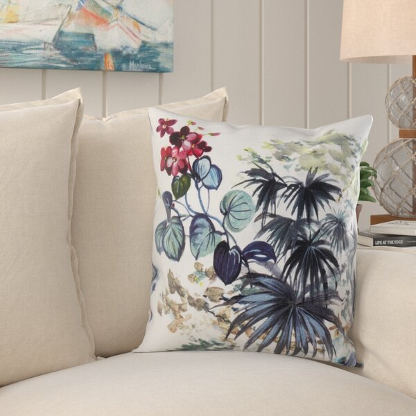 Clementina Tropical Plant Linen Throw Pillow by Bay Isle Home