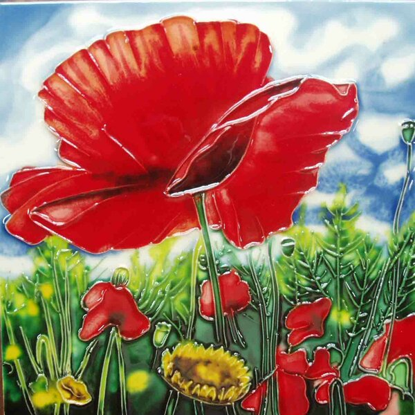 Red Poppy Blue Background Tile Wall Decor by Continental Art Center
