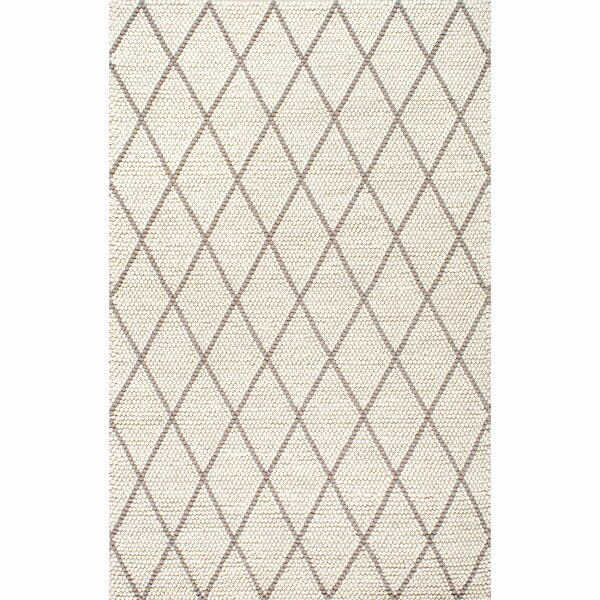 Adelinna Hand-Hooked Ivory Area Rug by Gracie Oaks