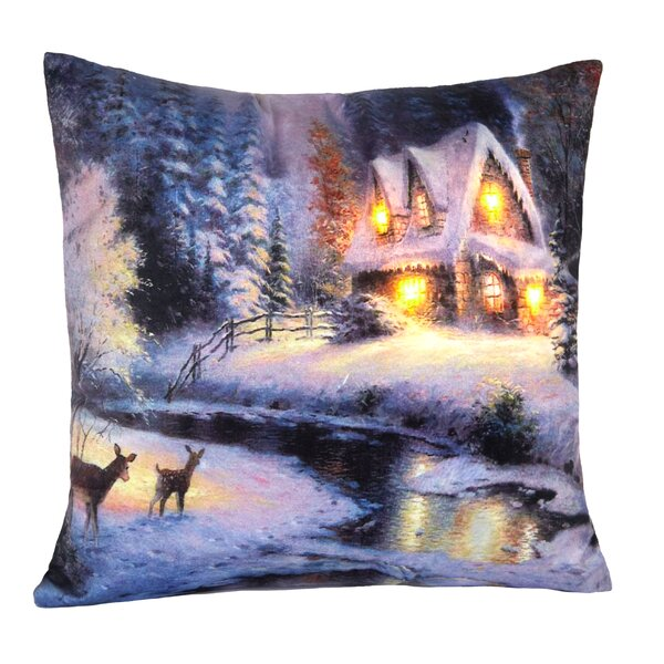 Cabin LED Holiday Light Up Throw Pillow by The Holiday Aisle