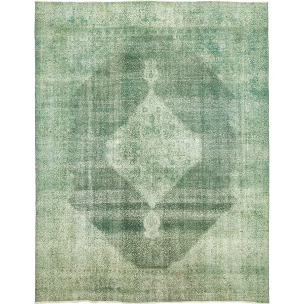 One-of-a-Kind Rowen Hand-Knotted Wool Green Indoor Area Rug by Bungalow Rose