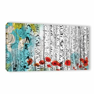 Birches and Poppies Painting Print on Wrapped Canvas by Latitude Run