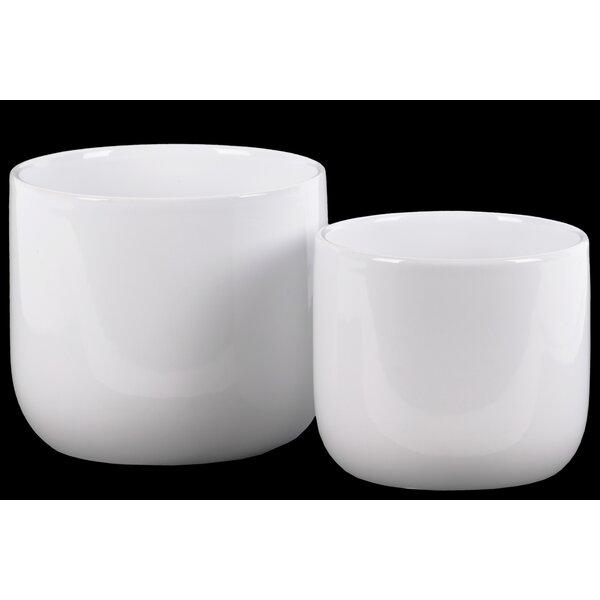 Wynonna Round 2-Piece Ceramic Pot Planter Set by World Menagerie