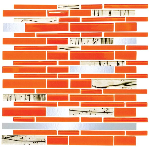 Signature Line Bright Glass Mosaic Tile in Orange by Susan Jablon