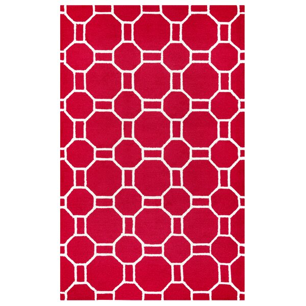 Evangeline Hand-Tufted Red Indoor/Outdoor Area Rug by Ebern Designs