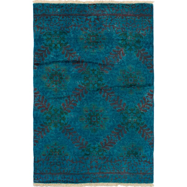 One-of-a-Kind Dominquez Hand-Knotted Wool Turquoise Area Rug by Isabelline