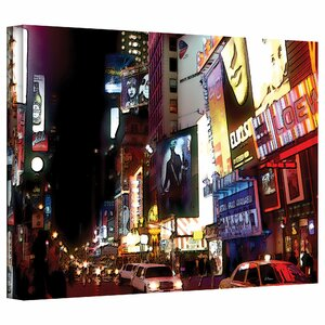 'NYC Bright Lights Broadway' by Linda Parker Photographic Print on Canvas by ArtWall