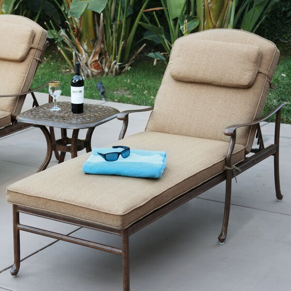Reclining Chaise Lounge with Cushion by Alcott Hill
