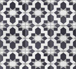 Fez Sencillo 8 x 8 Cement Field Tile in Black/White by Villa Lagoon Tile
