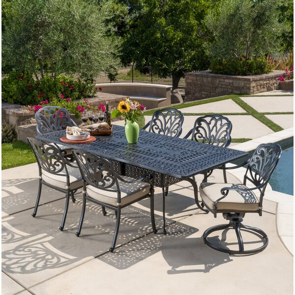 Dunnes 7 Piece Sunbrella Dining Set with Cushions by Darby Home Co
