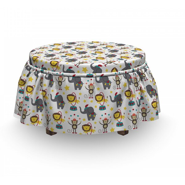 Doodle Circus Animals Ottoman Slipcover (Set Of 2) By East Urban Home