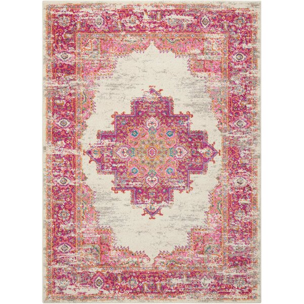 Dorset Ivory/Fuchsia Indoor Area Rug by Mercury Row