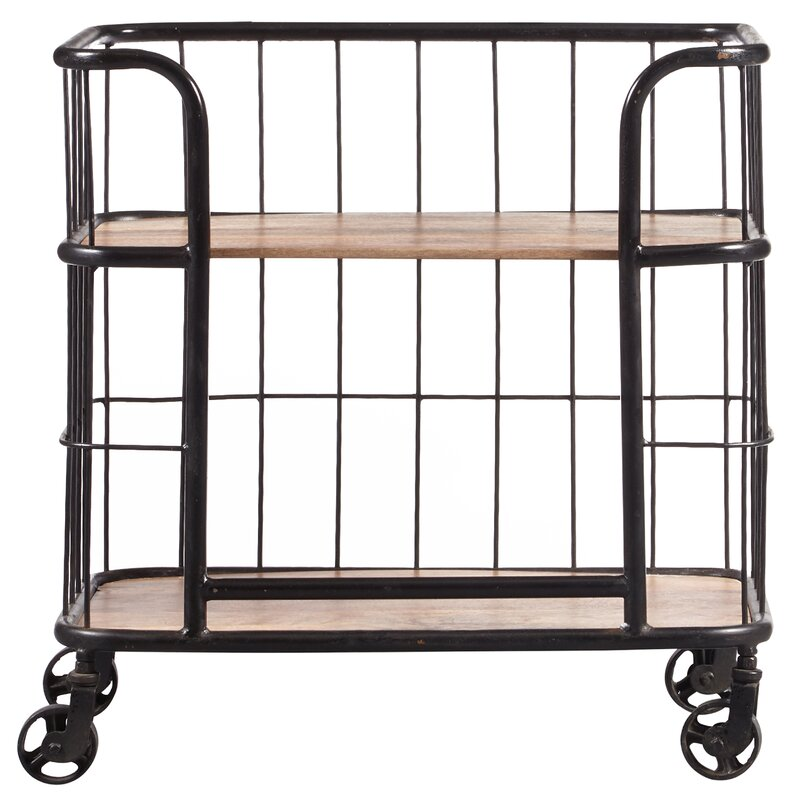 Lorient Industrial Wood And Metal Trolley Bar Cart