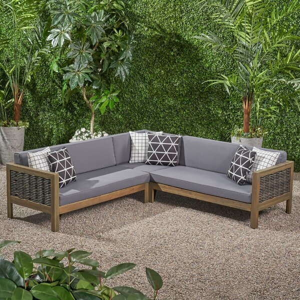 Kennison Patio Sectional With Cushions By Highland Dunes