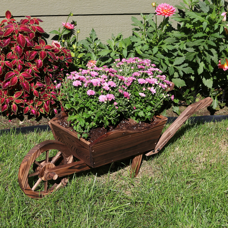 2x Traditional Wooden Wheelbarrow Planter Garden Plants Flowers Outdoor Natural